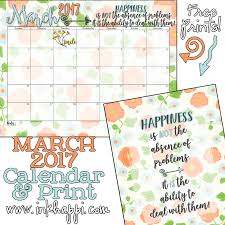 print calendars for 2017 free printables march 2017 calendar and coordinating print