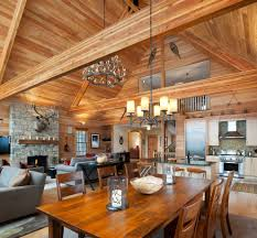 open concept dining room rustic with vaulted ceiling antler open concept dining room rustic with vaulted ceiling natural finish kitchen islands