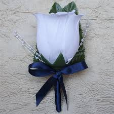 silk satin ribbon bud boutonniere with navy blue satin ribbon