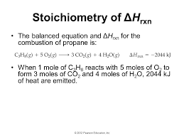 60 stoichiometry of Δhrxn the balanced equation and Δhrxn for the combustion of propane