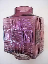 whitefriars stitched cube vase square pattern vase aubergine