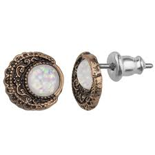 stainless steel stud earrings freshtrends opal moon filigree gold tone stainless steel stud