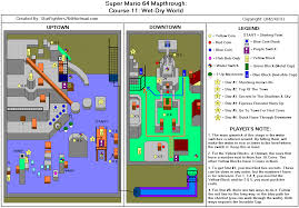 Super Mario World Map Super Mario 64 Course 11 Wet Dry World Map For Nintendo 64 By