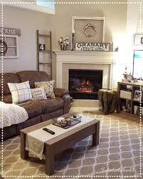 Living Room With Brown Leather Sofa Cozy Living Room Brown Decor Ladder Winter Decor Living