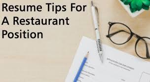 resumes for restaurant jobs resume tips for a restaurant position jpg