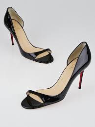 christian louboutin black patent leather toboggan 85 pumps size 8