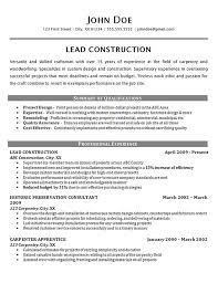 construction resume exles construction worker resume exle carpenter supervisor