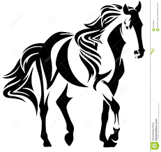 white mustang horse mustang horse black and white vector design stock vector image