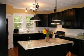 dark wood kitchen designs with beautiful flower and marble top