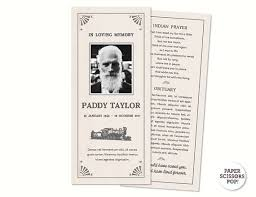 funeral program paper masculine funeral card personalized memorial order of service