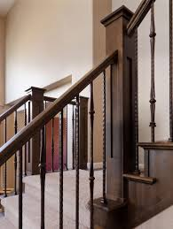 Solid Banister Stair Inspiring Staircase Decorating Design Ideas With Dark Brown