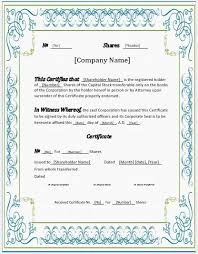 stock certificates 2018 templates for ms word word u0026 excel