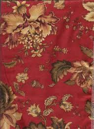 Burgundy Curtains For Living Room Dorothea Laquer Bold Red Print Floral Fabric With Olive Green