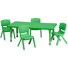 daycare table and chairs amazon com flash furniture 24 w x 48 l rectangular green plastic