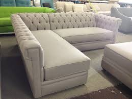 White Leather Tufted Sofa Trendy Creamy Tufted Sectional Backseat With L Shape Models As