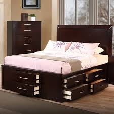 Platform Beds With Storage Underneath - furniture dark brown varnish wooden queen size bed with headboard