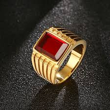 cool gold rings images Modyle 2018 new big red stone rings for men jewelry cool gold jpg