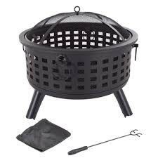 Fire Pit Poker by Pure Garden 26 In Steel Round Fire Pit With Spark Screen And Log