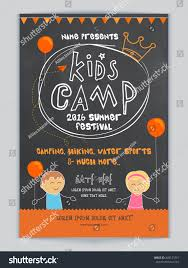 halloween background images for flyers with kids kids camp summer festival celebration template stock vector