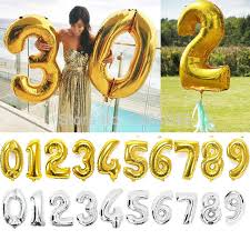 birthday helium balloons aliexpress buy 30 inch gold silver number foil balloon