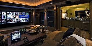 Home Theatre Design Layout by Small Home Theater Ideas Brown Leather Sofas Glass Bars Table Red