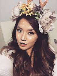 Deer Halloween Makeup by Deer Make Up And Flower Crown With Antlers For Halloween