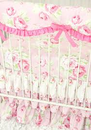 Vintage Floral Crib Bedding Shabby Chic Roses Ruffle Baby Beddling Caden