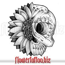 design with sunflower and skull