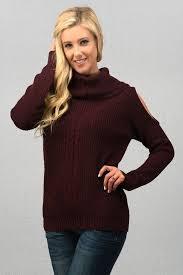 open shoulder sweater wide mock neck open shoulder sweater in plum lemora