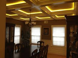 coffered ceiling lighting ideas luxurious dark brown dining chair