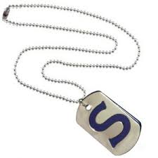 buy men style alphabet s letter silver and blue 316 l stainless