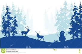 christmas scenery deer snowman silhouette stock vector image