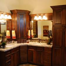 corner vanity double sinks dark cabinets light granite cf