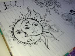 an old tattoo sketch ink moon sun boho paper indie flickr