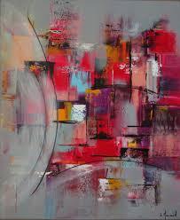 Tableau Abstrait Rouge Et Gris by Peinture Moderne Acrylique Multicolore Gris Rose Violet Jaune Bleu