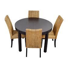 Round Black Dining Room Table 66 Off Macy U0027s U0026 Ikea Round Black Dining Table Set With Four