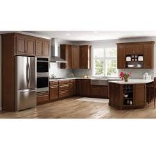 kitchen top cabinets decor hton assembled 36x18x24 in above refrigerator wall bridge kitchen cabinet in cognac