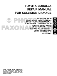 1997 toyota tacoma repair manual 1993 1998 toyota corolla body collision manual original