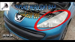 replace the headlight bulb h7 peugeot 207 year 2006 2015 youtube