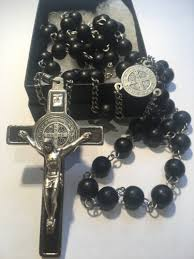 black rosary black wood rosary with st benedict cross rosaries by monks
