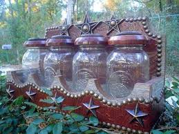 western kitchen canisters tooled leather jar canister set western decor by signature