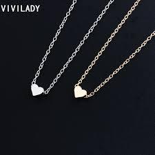 lady gold necklace images Vivilady 3 pieces trendy tiny heart short pendant necklace women jpg
