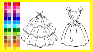 coloring page of beautiful dresses to color for children to learn