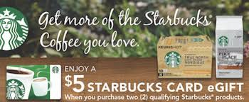 free e gift cards get a free 5 e gift card when you buy 2 qualifying starbucks
