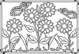 Hard Flower Coloring Pages - flower garden coloring pages to download and print for free