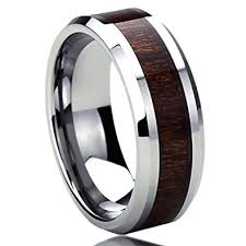 wood mens wedding bands 8mm titanium mens womens rings wood grain inlay comfort fit