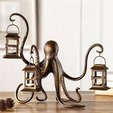 octopus decor octopus whimsical lantern candle holder metal sculpture coastal