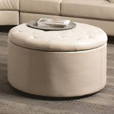 coffee table round padded coffee table leather cream design
