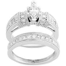 diamond wedding ring sets for 1 carat diamond marquise bridal set in 10kt white gold walmart