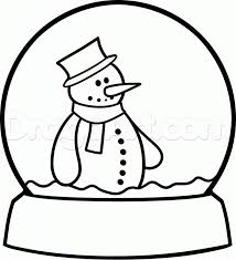 snow globe drawing for pinterest coloring home throughout snow